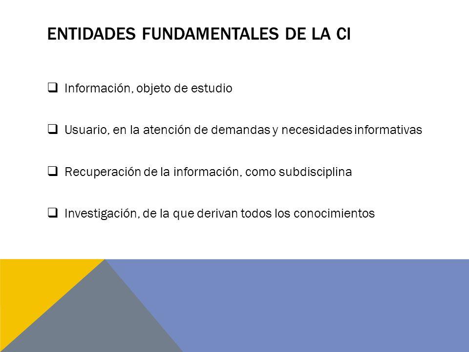 ENTIDADES FUNDAMENTALES DE LA CI Información, objeto de estudio Usuario, en la atención de demandas y necesidades informativas Recuperación de la información, como subdisciplina Investigación, de la que derivan todos los conocimientos