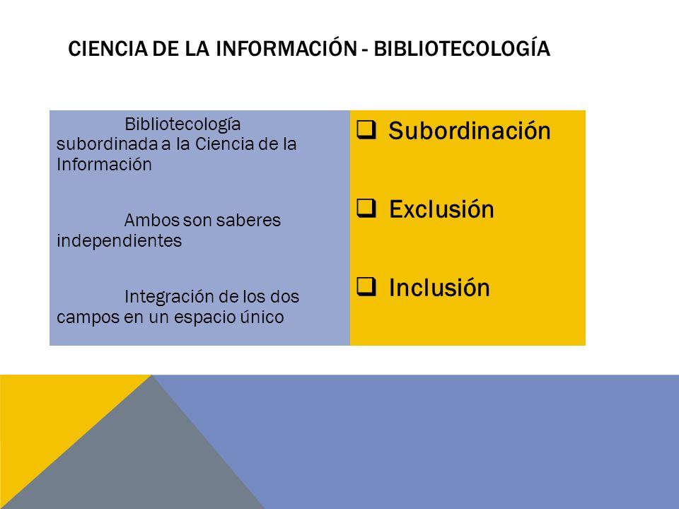 Subordinación Exclusión Inclusión Bibliotecología subordinada a la Ciencia de la Información Ambos son saberes independientes Integración de los dos campos en un espacio único CIENCIA DE LA INFORMACIÓN - BIBLIOTECOLOGÍA