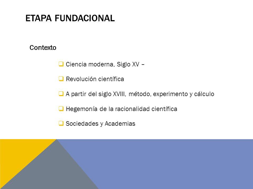 ETAPA FUNDACIONAL Ciencia moderna, Siglo XV – Revolución científica A partir del siglo XVIII, método, experimento y cálculo Hegemonía de la racionalid