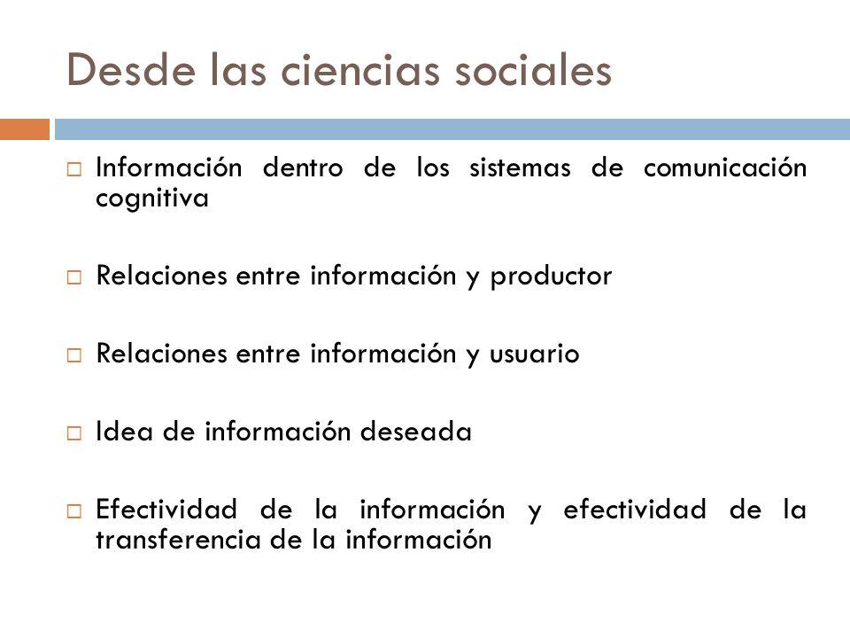 Desde las ciencias sociales Información dentro de los sistemas de comunicación cognitiva Relaciones entre información y productor Relaciones entre inf