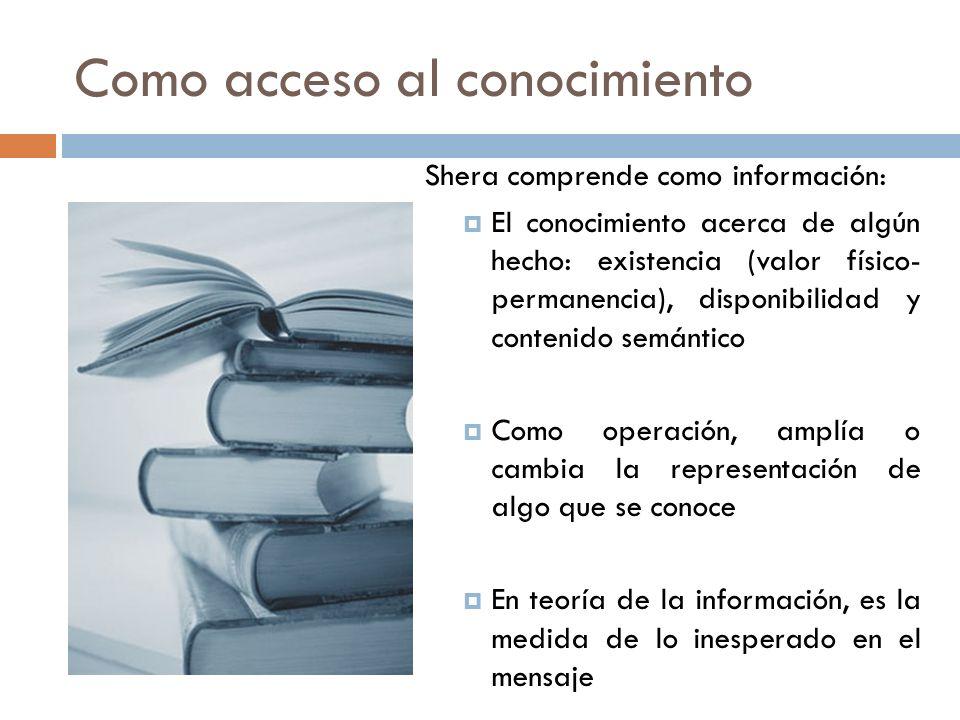 Como acceso al conocimiento Shera comprende como información: El conocimiento acerca de algún hecho: existencia (valor físico- permanencia), disponibi