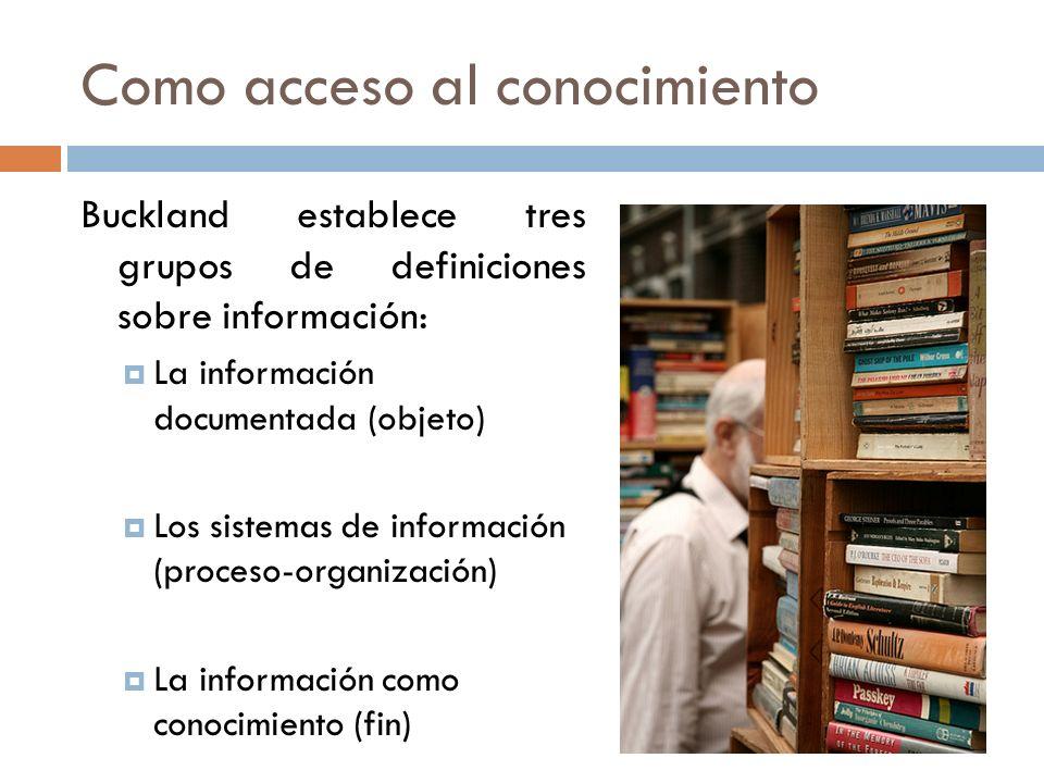 Como acceso al conocimiento Buckland establece tres grupos de definiciones sobre información: La información documentada (objeto) Los sistemas de info