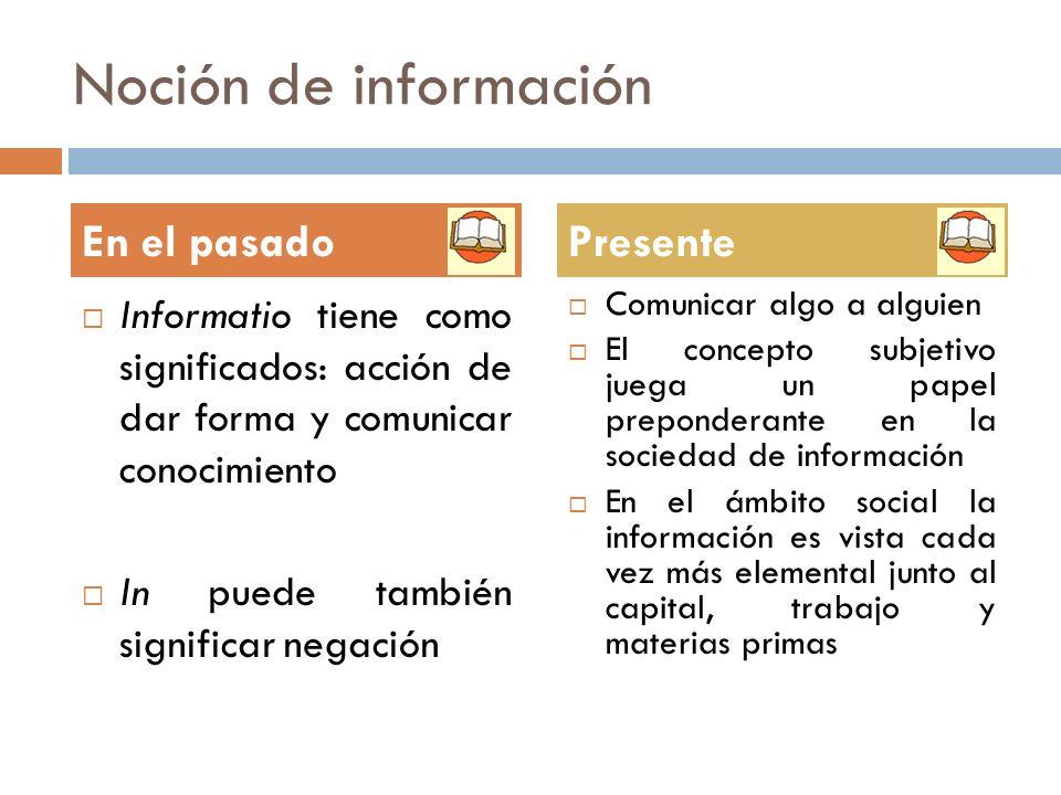 Noción de información Informatio tiene como significados: acción de dar forma y comunicar conocimiento In puede también significar negación Comunicar