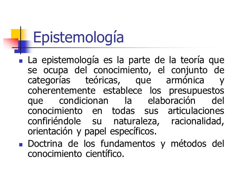 Epistemología La epistemología es la parte de la teoría que se ocupa del conocimiento, el conjunto de categorías teóricas, que armónica y coherentemen