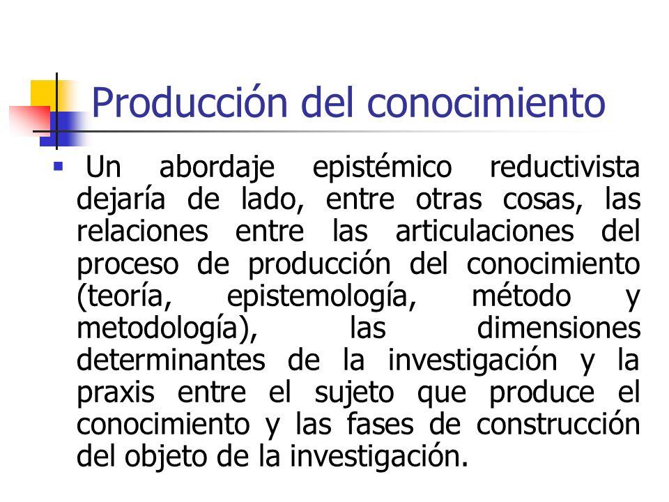 Producción del conocimiento Un abordaje epistémico reductivista dejaría de lado, entre otras cosas, las relaciones entre las articulaciones del proces