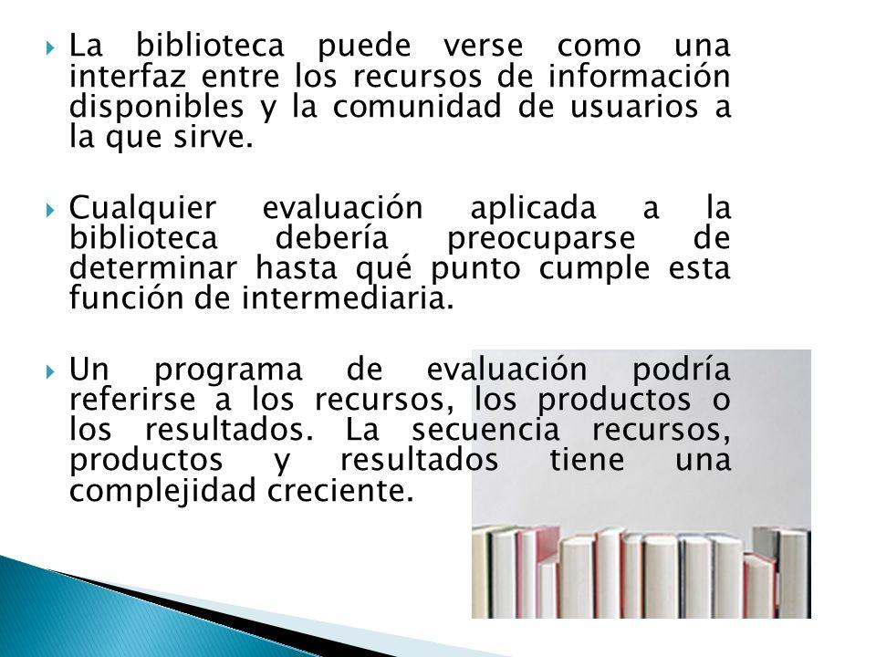 La biblioteca puede verse como una interfaz entre los recursos de información disponibles y la comunidad de usuarios a la que sirve.