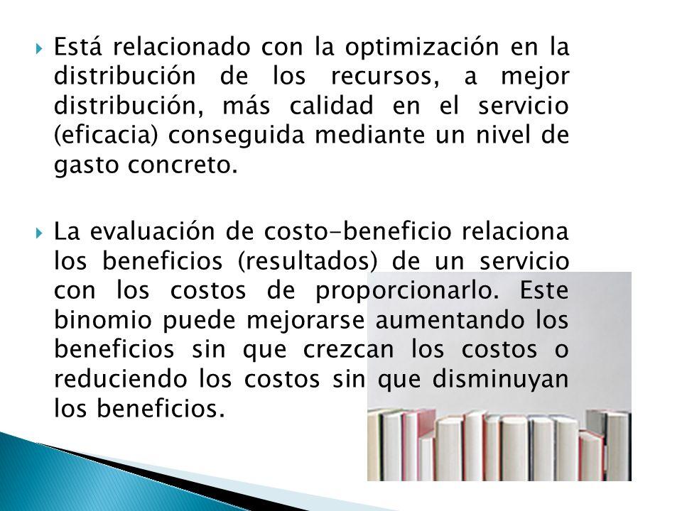 Está relacionado con la optimización en la distribución de los recursos, a mejor distribución, más calidad en el servicio (eficacia) conseguida mediante un nivel de gasto concreto.