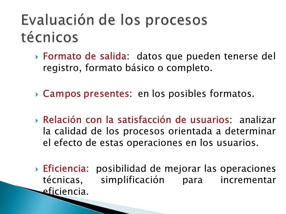 Formato de salida: datos que pueden tenerse del registro, formato básico o completo.