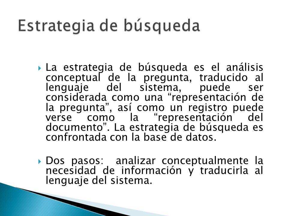 La estrategia de búsqueda es el análisis conceptual de la pregunta, traducido al lenguaje del sistema, puede ser considerada como una representación de la pregunta, así como un registro puede verse como la representación del documento.