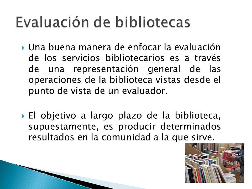 Una buena manera de enfocar la evaluación de los servicios bibliotecarios es a través de una representación general de las operaciones de la biblioteca vistas desde el punto de vista de un evaluador.