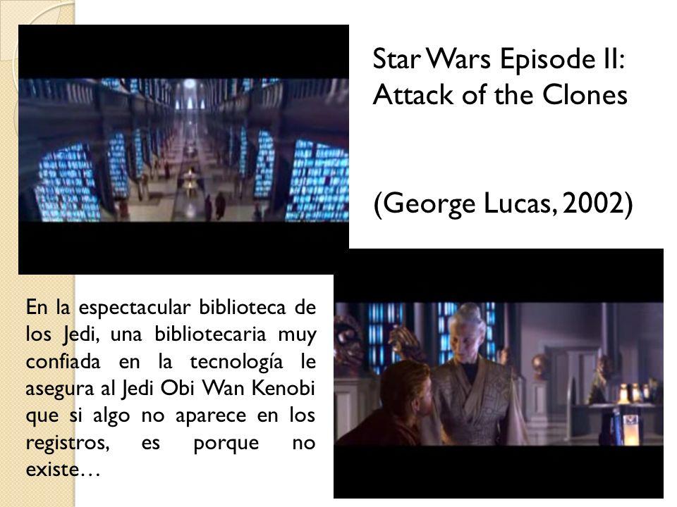 En la espectacular biblioteca de los Jedi, una bibliotecaria muy confiada en la tecnología le asegura al Jedi Obi Wan Kenobi que si algo no aparece en