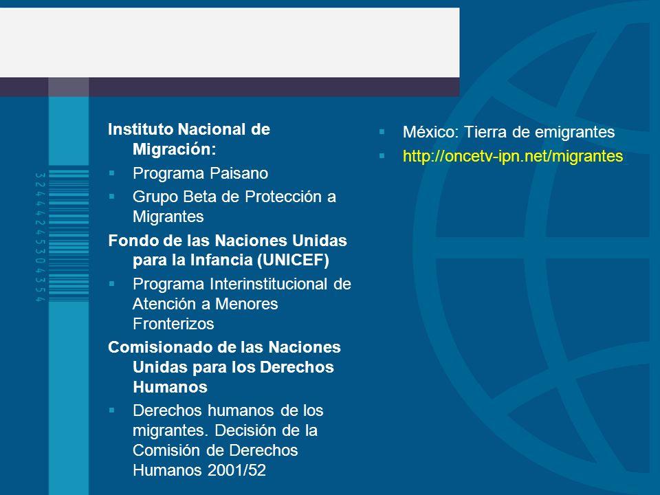 Instituto Nacional de Migración: Programa Paisano Grupo Beta de Protección a Migrantes Fondo de las Naciones Unidas para la Infancia (UNICEF) Programa