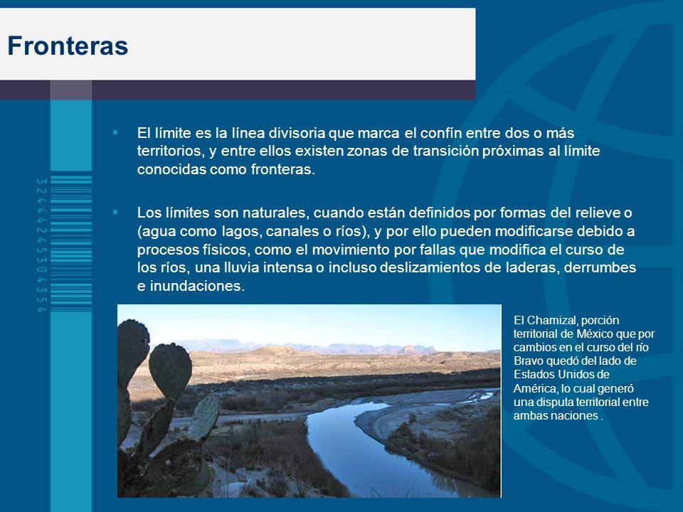 Fronteras El límite es la línea divisoria que marca el confín entre dos o más territorios, y entre ellos existen zonas de transición próximas al límit
