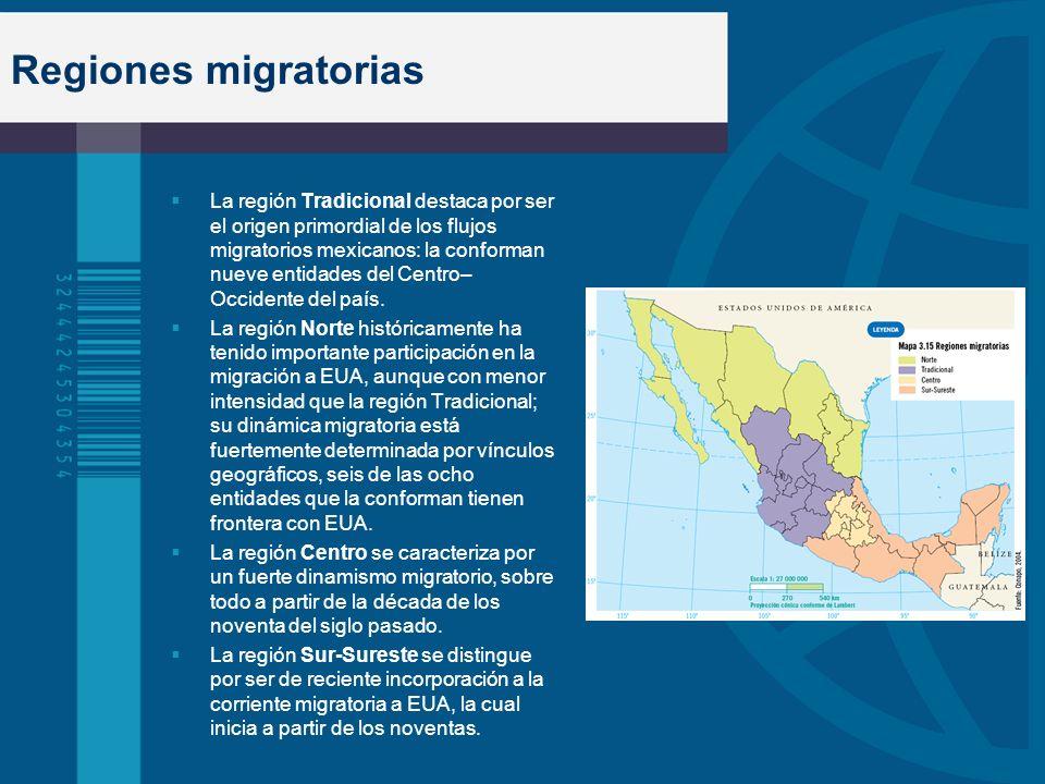 Regiones migratorias La región Tradicional destaca por ser el origen primordial de los flujos migratorios mexicanos: la conforman nueve entidades del