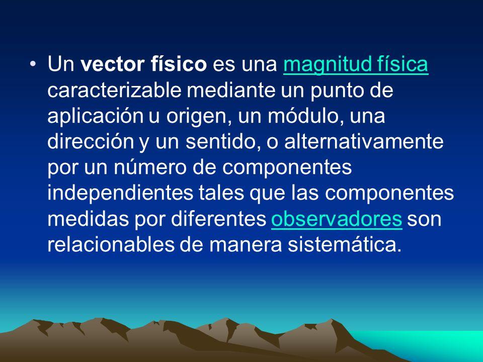 Un vector físico es una magnitud física caracterizable mediante un punto de aplicación u origen, un módulo, una dirección y un sentido, o alternativam