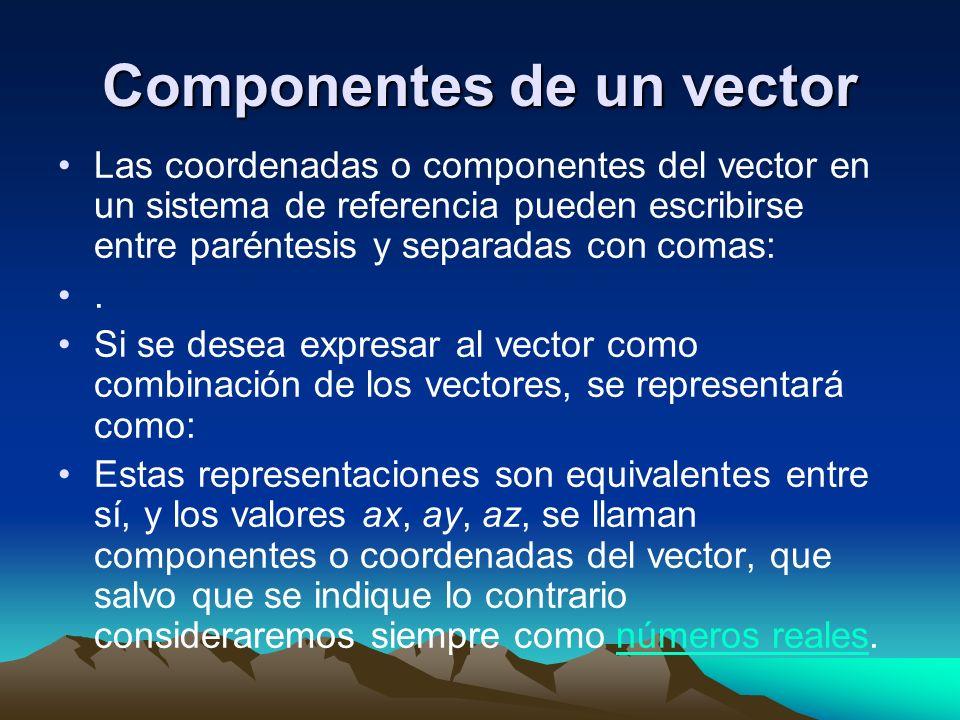 Componentes de un vector Las coordenadas o componentes del vector en un sistema de referencia pueden escribirse entre paréntesis y separadas con comas