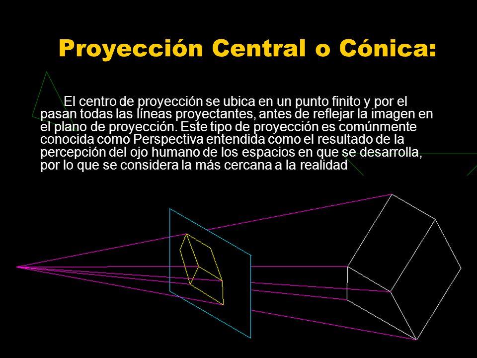 Proyección Central o Cónica: El centro de proyección se ubica en un punto finito y por el pasan todas las líneas proyectantes, antes de reflejar la imagen en el plano de proyección.