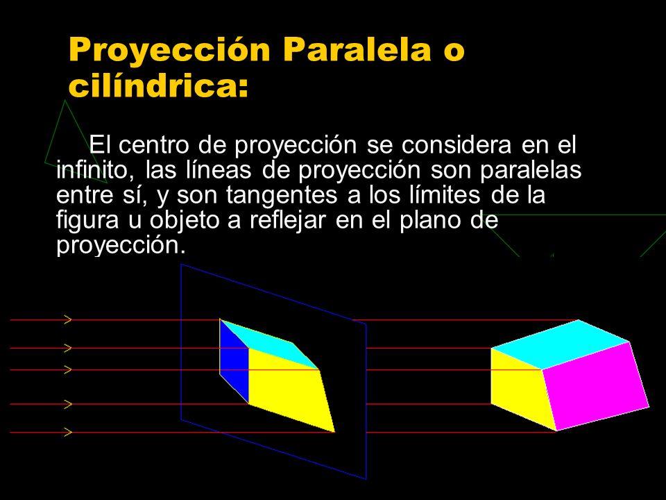Proyección Paralela o cilíndrica: El centro de proyección se considera en el infinito, las líneas de proyección son paralelas entre sí, y son tangentes a los límites de la figura u objeto a reflejar en el plano de proyección.