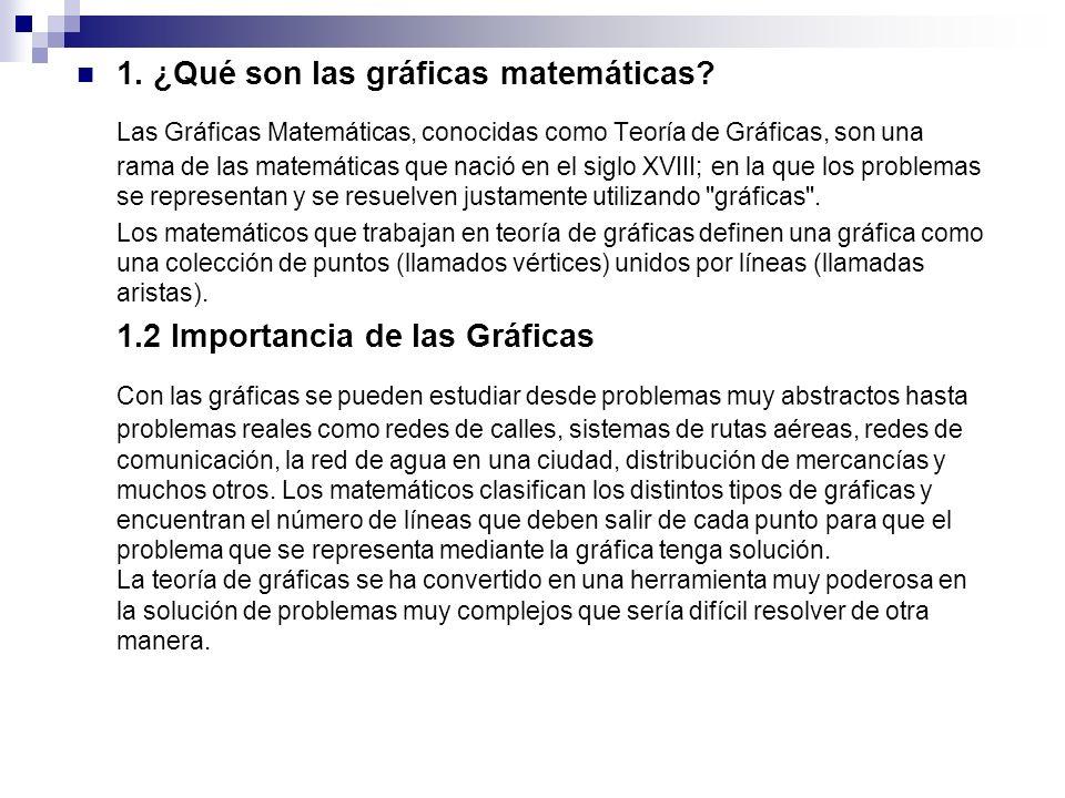 1. ¿Qué son las gráficas matemáticas? Las Gráficas Matemáticas, conocidas como Teoría de Gráficas, son una rama de las matemáticas que nació en el sig