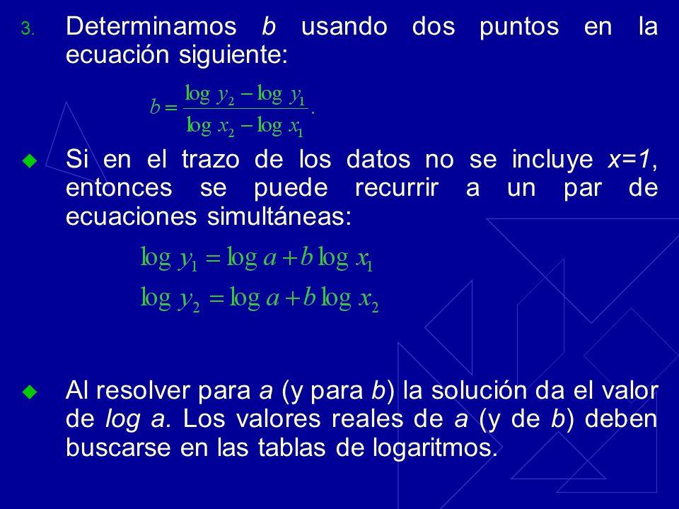 3. Determinamos b usando dos puntos en la ecuación siguiente: Si en el trazo de los datos no se incluye x=1, entonces se puede recurrir a un par de ec
