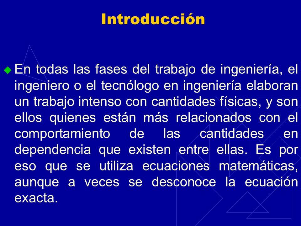 Introducción En todas las fases del trabajo de ingeniería, el ingeniero o el tecnólogo en ingeniería elaboran un trabajo intenso con cantidades física