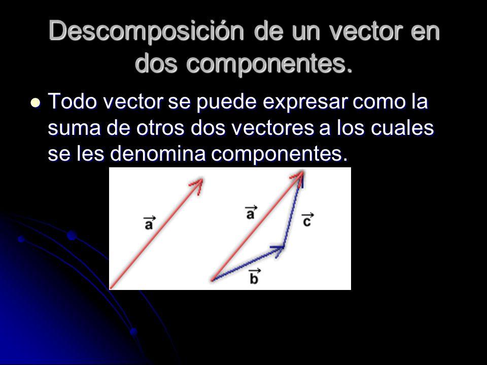 Descomposición de un vector en dos componentes. Todo vector se puede expresar como la suma de otros dos vectores a los cuales se les denomina componen