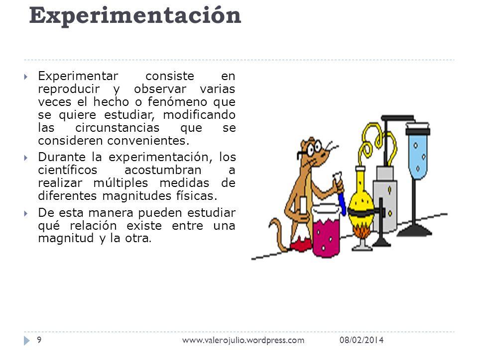 Experimentación Experimentar consiste en reproducir y observar varias veces el hecho o fenómeno que se quiere estudiar, modificando las circunstancias
