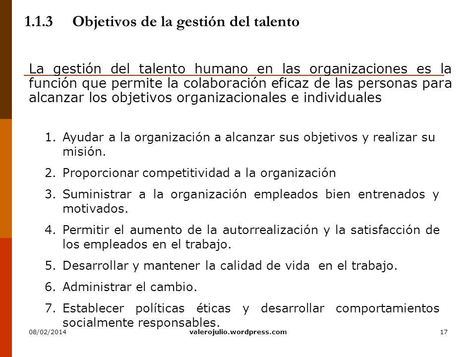 17 1.1.3Objetivos de la gestión del talento La gestión del talento humano en las organizaciones es la función que permite la colaboración eficaz de la