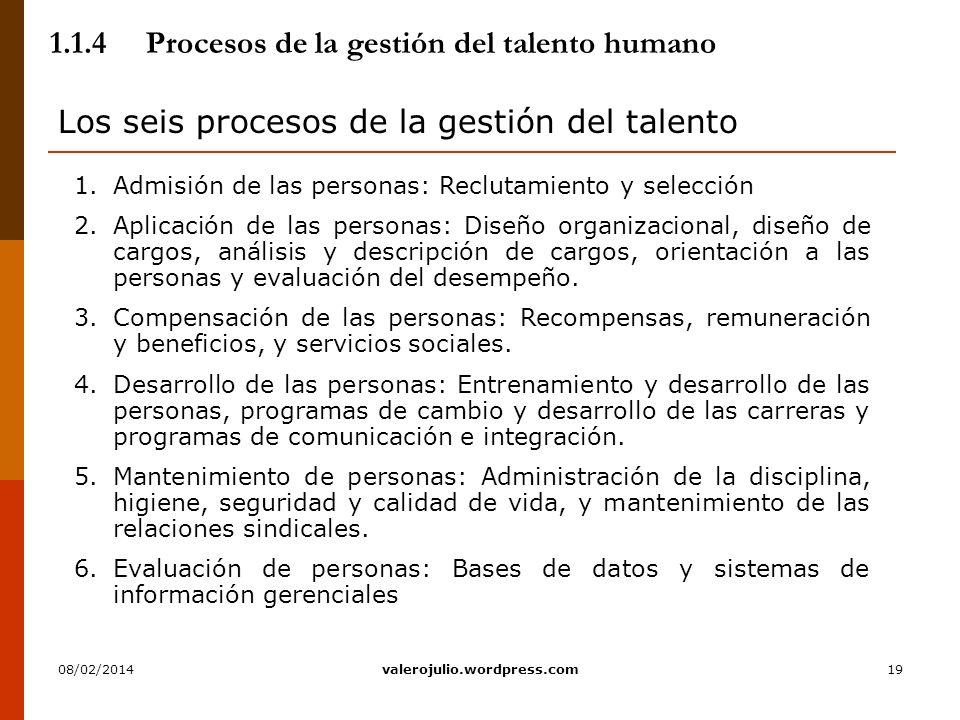 19 1.1.4Procesos de la gestión del talento humano Los seis procesos de la gestión del talento 1.Admisión de las personas: Reclutamiento y selección 2.