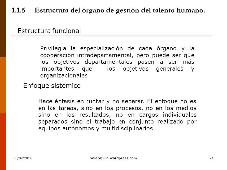 21 1.1.5Estructura del órgano de gestión del talento humano. Estructura funcional Hace énfasis en juntar y no separar. El enfoque no es en las tareas,