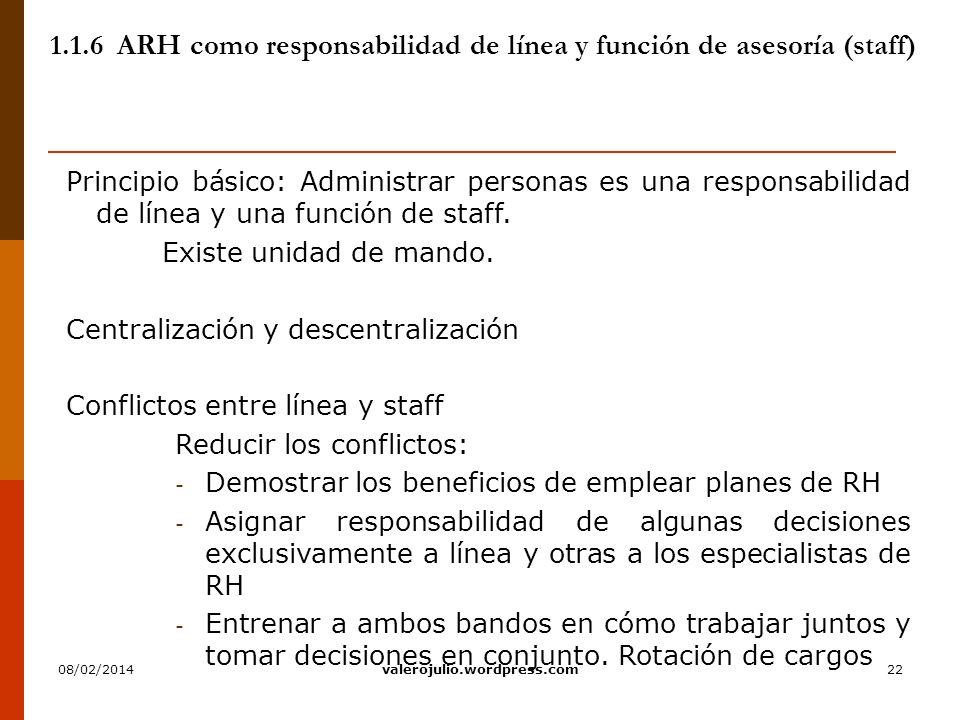 22 1.1.6 ARH como responsabilidad de línea y función de asesoría (staff) Principio básico: Administrar personas es una responsabilidad de línea y una