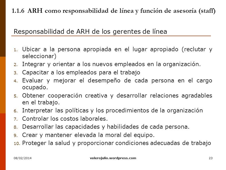 23 1.1.6 ARH como responsabilidad de línea y función de asesoría (staff) Responsabilidad de ARH de los gerentes de línea 1. Ubicar a la persona apropi