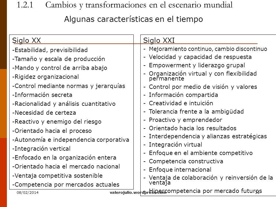31 1.2.1 Cambios y transformaciones en el escenario mundial Algunas características en el tiempo Siglo XXI -Mejoramiento continuo, cambio discontinuo