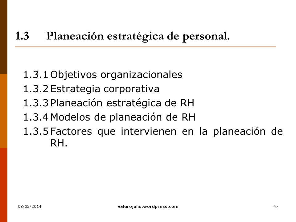 47 1.3Planeación estratégica de personal. 1.3.1Objetivos organizacionales 1.3.2Estrategia corporativa 1.3.3Planeación estratégica de RH 1.3.4Modelos d