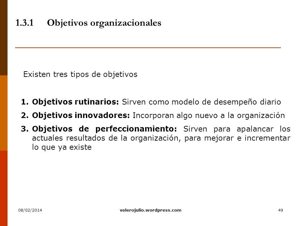 49 1.3.1Objetivos organizacionales Existen tres tipos de objetivos 1.Objetivos rutinarios: Sirven como modelo de desempeño diario 2.Objetivos innovado