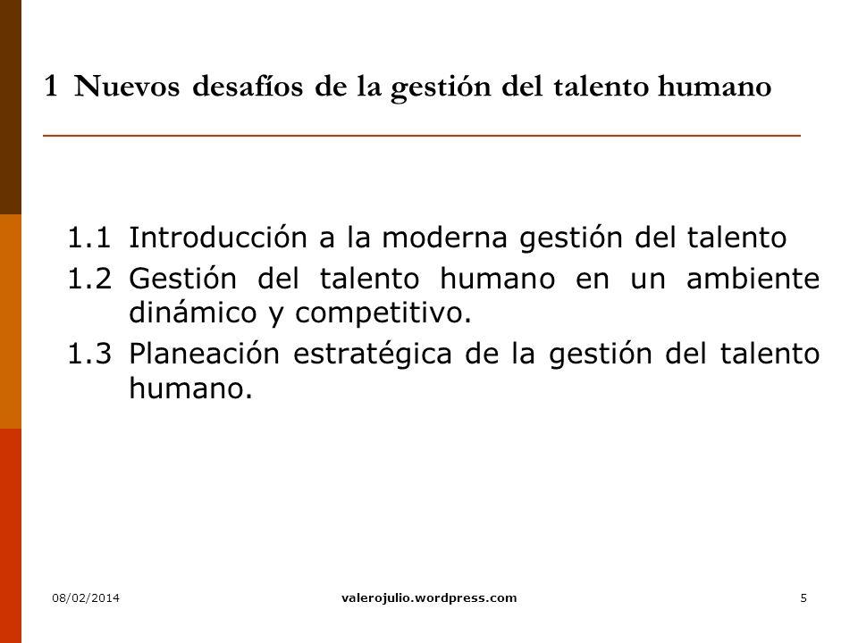 6 1.1Introducción a la moderna gestión del talento 1.1.1 Contexto de la gestión del talento humano 1.1.2Concepto de la gestión del talento humano 1.1.3Objetivos de la gestión del talento 1.1.4Procesos de la gestión del talento humano 1.1.5Estructura del órgano de gestión del talento humano.