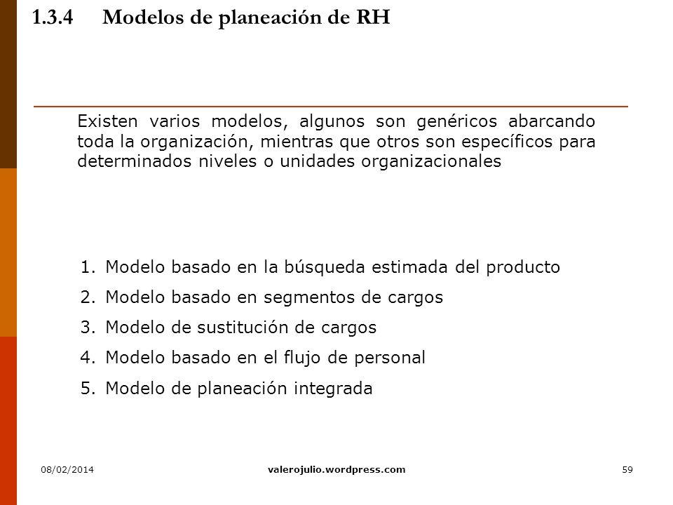 59 1.3.4Modelos de planeación de RH Existen varios modelos, algunos son genéricos abarcando toda la organización, mientras que otros son específicos p