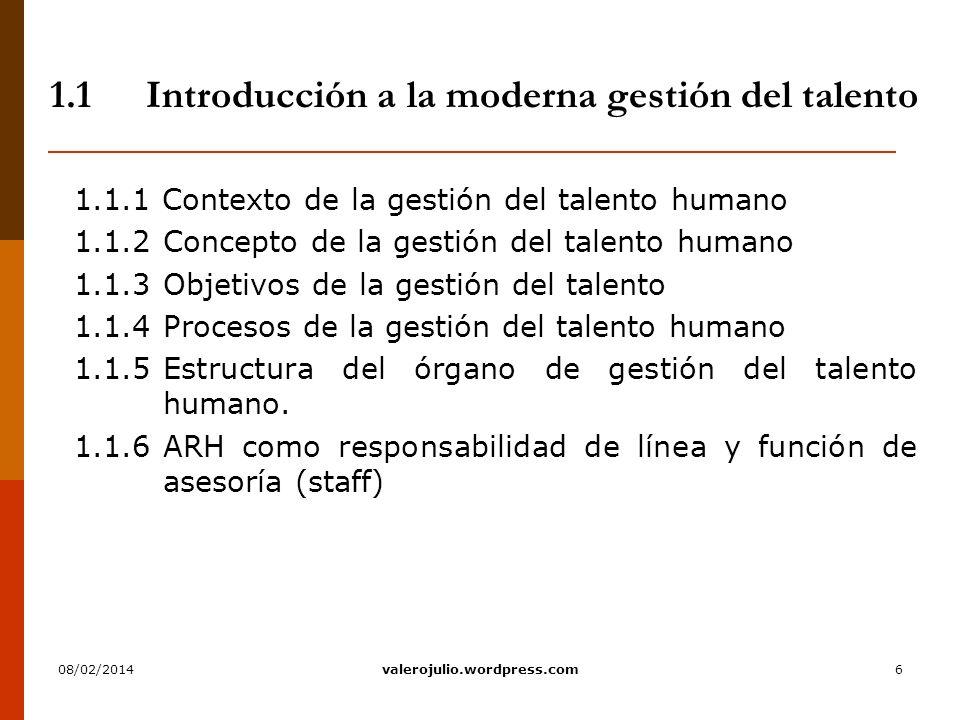 6 1.1Introducción a la moderna gestión del talento 1.1.1 Contexto de la gestión del talento humano 1.1.2Concepto de la gestión del talento humano 1.1.