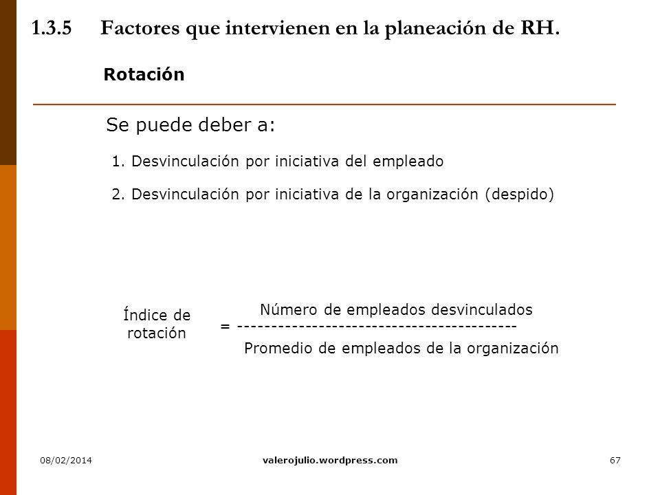 67 1.3.5Factores que intervienen en la planeación de RH. Rotación Se puede deber a: 1. Desvinculación por iniciativa del empleado 2. Desvinculación po