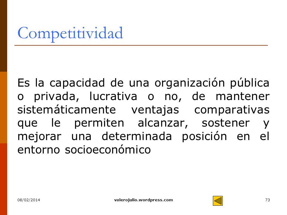 73 Competitividad Es la capacidad de una organización pública o privada, lucrativa o no, de mantener sistemáticamente ventajas comparativas que le per