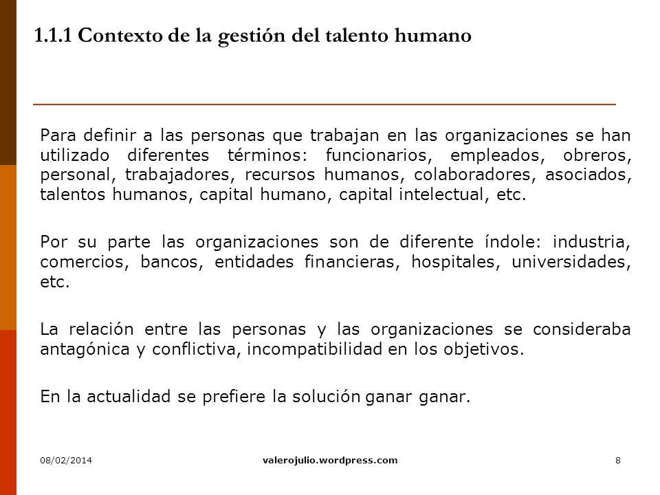 8 1.1.1 Contexto de la gestión del talento humano Para definir a las personas que trabajan en las organizaciones se han utilizado diferentes términos:
