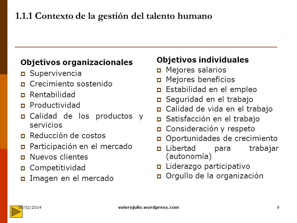 9 1.1.1 Contexto de la gestión del talento humano Objetivos individuales Mejores salarios Mejores beneficios Estabilidad en el empleo Seguridad en el