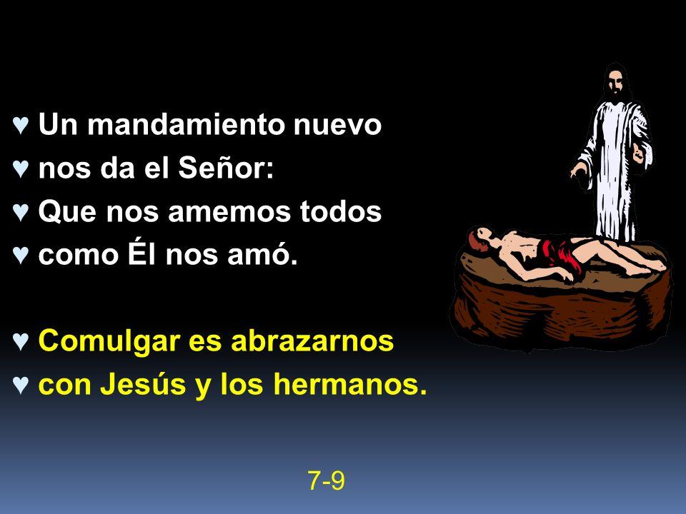 Un mandamiento nuevo nos da el Señor: Que nos amemos todos como Él nos amó. Comulgar es abrazarnos con Jesús y los hermanos. 7-9