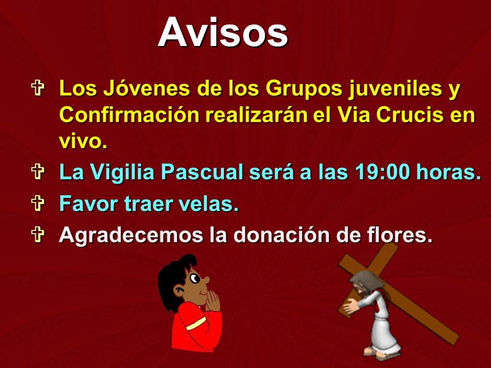 Los Jóvenes de los Grupos juveniles y Confirmación realizarán el Via Crucis en vivo. Los Jóvenes de los Grupos juveniles y Confirmación realizarán el