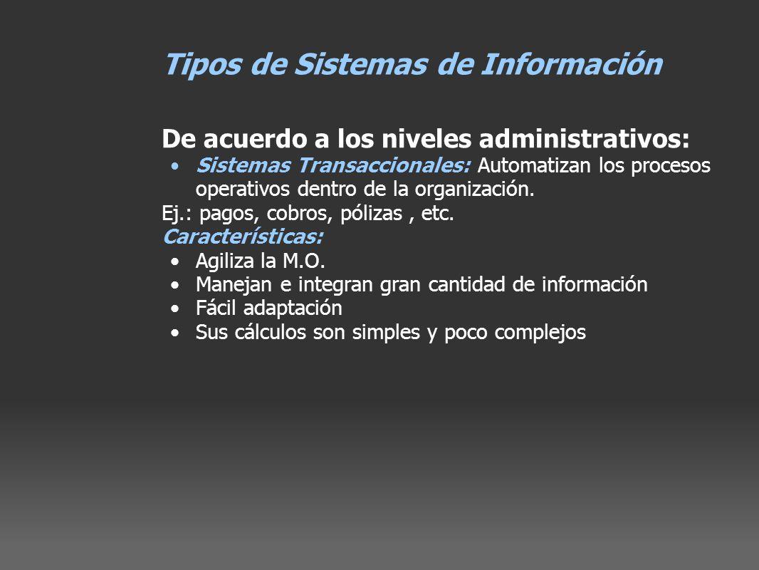 Tipos de Sistemas de Información De acuerdo a los niveles administrativos: Sistemas Transaccionales: Automatizan los procesos operativos dentro de la