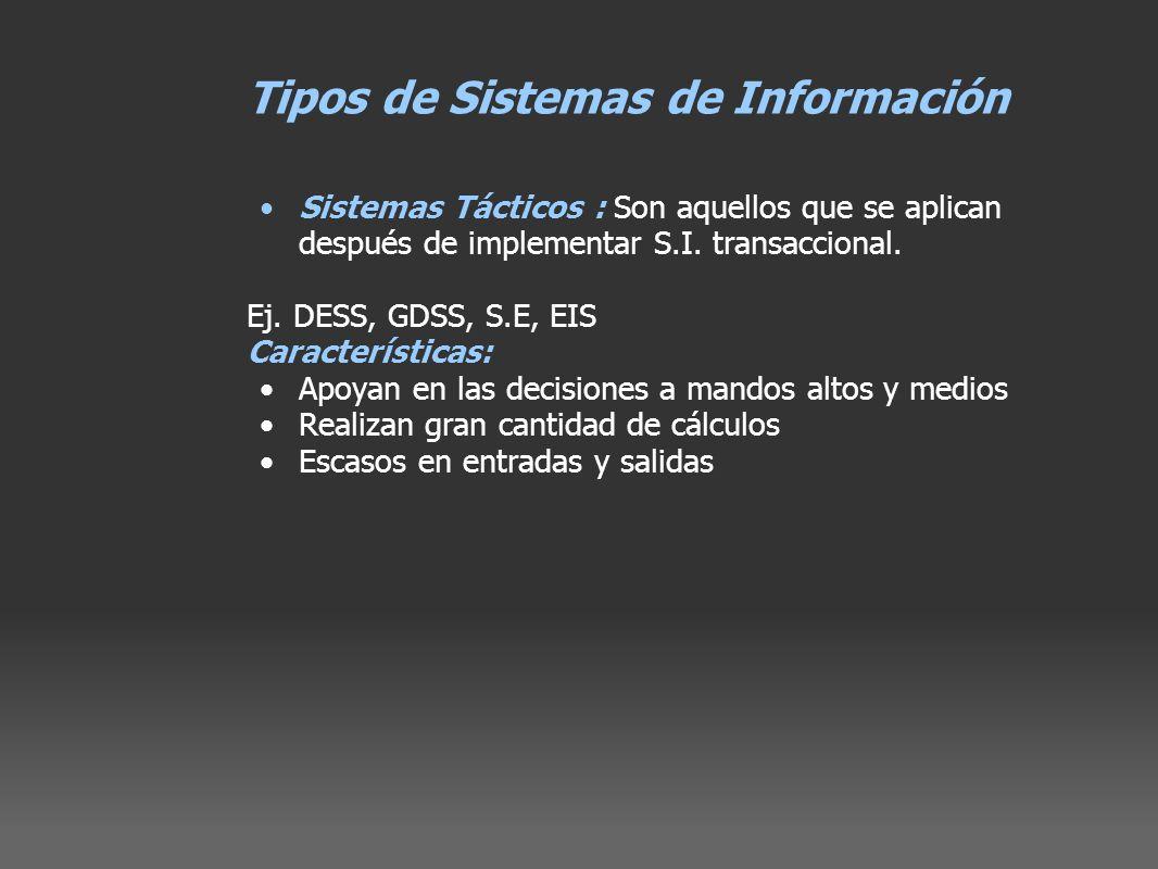 Tipos de Sistemas de Información Sistemas Tácticos : Son aquellos que se aplican después de implementar S.I. transaccional. Ej. DESS, GDSS, S.E, EIS C