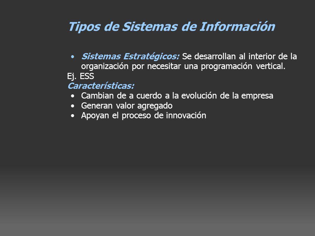 Tipos de Sistemas de Información Sistemas Estratégicos: Se desarrollan al interior de la organización por necesitar una programación vertical. Ej. ESS