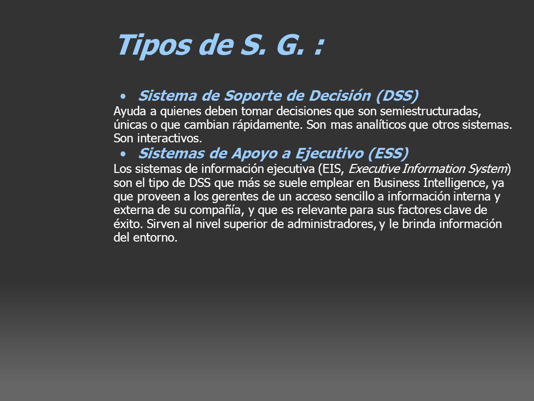 Tipos de S. G. : Sistema de Soporte de Decisión (DSS) Ayuda a quienes deben tomar decisiones que son semiestructuradas, únicas o que cambian rápidamen
