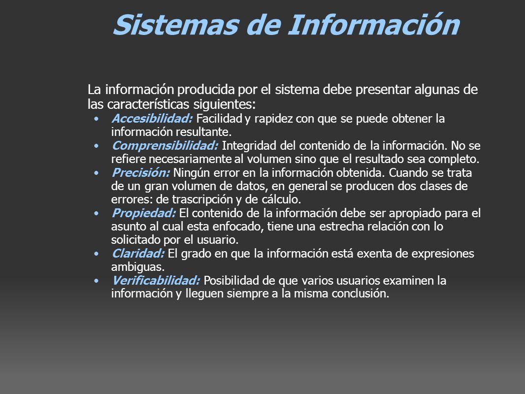 Sistemas de Información La información producida por el sistema debe presentar algunas de las características siguientes: Accesibilidad: Facilidad y r