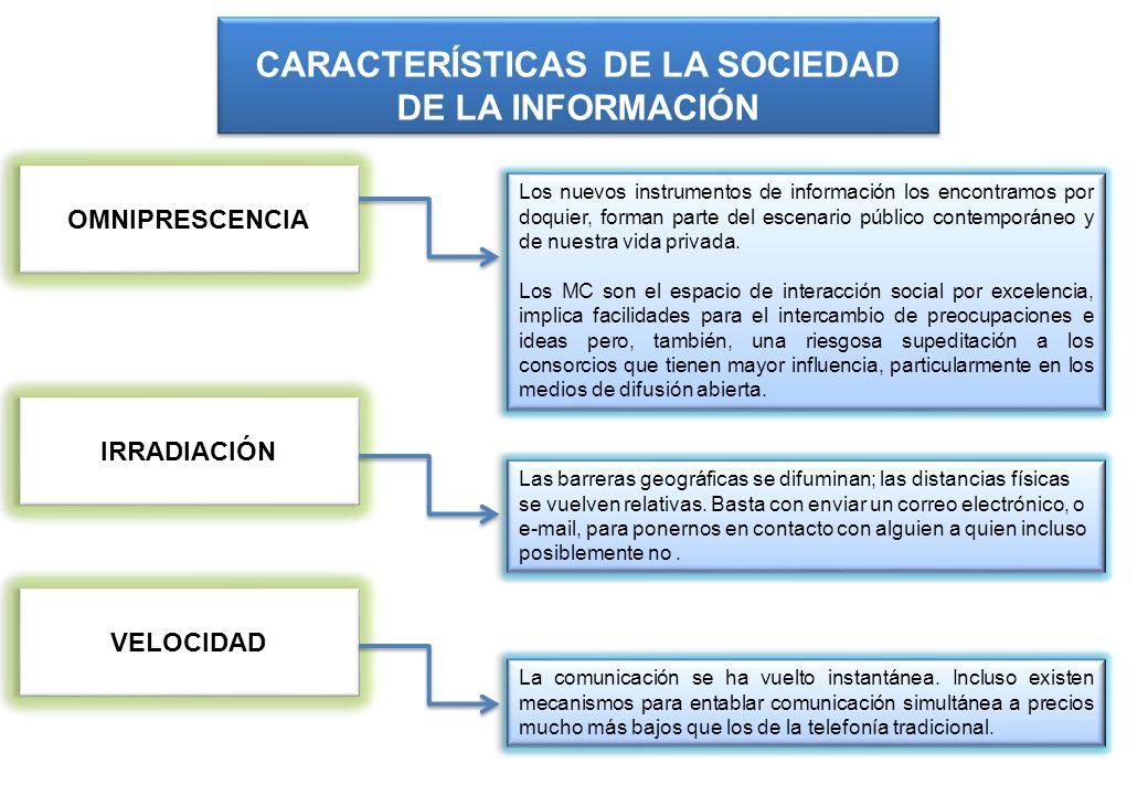 OMNIPRESCENCIA OMNIPRESCENCIA CARACTERÍSTICAS DE LA SOCIEDAD DE LA INFORMACIÓN Los nuevos instrumentos de información los encontramos por doquier, for